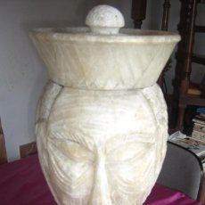 Antigüedades: FIGURA JARRON GRANDE DE ALABASTRO TALLADA PRECIOSA 50 X 25 CM PESO 16 KILOS. Lote 82293148