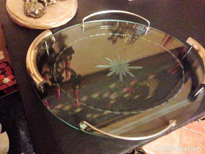 PRECIOSA BANDEJA EN CRISTAL TALLADO. (Antigüedades - Cristal y Vidrio - Otros)