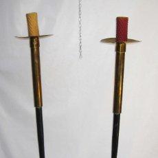 Antigüedades: ENORMES CANDELABROS DE IGLESIA ALTAR ART DECO IDEAL DECORACION . Lote 82421368