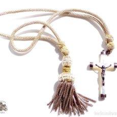 Antigüedades: CRUCIFIJO PARA COMUNIÓN EN PLATA Y NACAR - CRUZ 7 X 4 CM. Lote 82440884