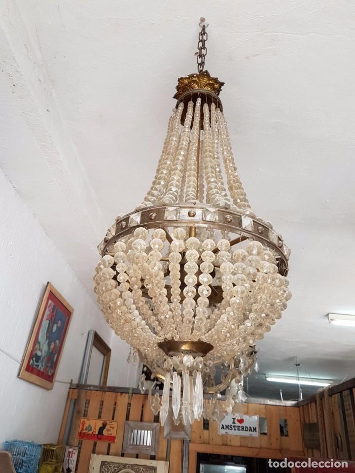 LAMPARA ISABELINA CON CRISTAL DE ROCA (Antigüedades - Iluminación - Lámparas Antiguas)