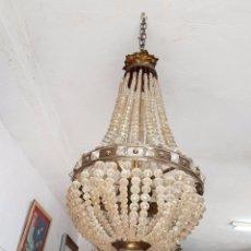 Antigüedades: LAMPARA ISABELINA CON CRISTAL DE ROCA. Lote 82459060