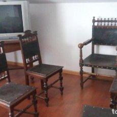 Antigüedades: CUATRO SILLAS CERVANTINAS Y SILLON CUERO DEL MISMO ESTILO. Lote 213510385