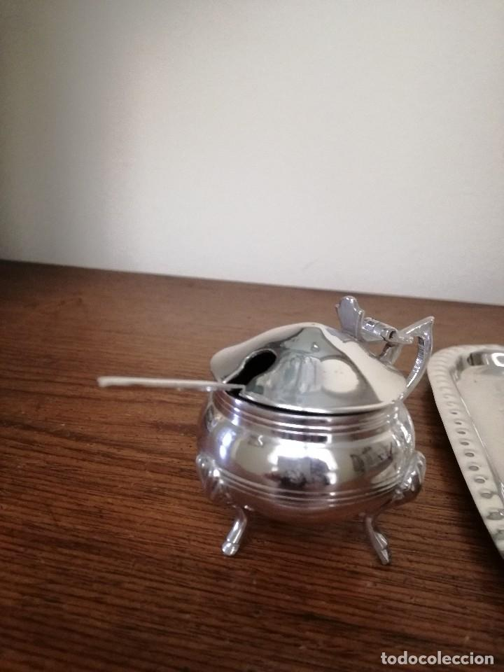 Antigüedades: Juego de salero, pimentero... Baño plata - Foto 3 - 82691164