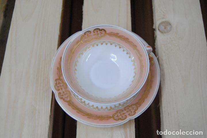 TAZA Y PLATILLO PORCELANA DE LIMOGES (Antigüedades - Porcelana y Cerámica - Francesa - Limoges)