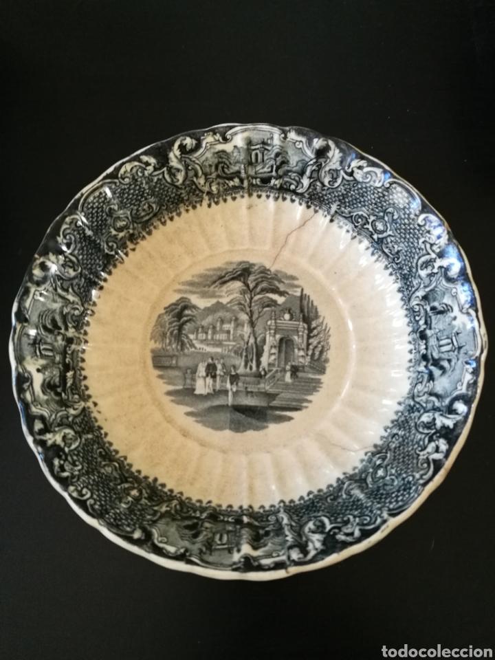 FUENTE CERAMICA ANTIGUA S.XIX SAN JUAN SEVILLA SELLO INCISO . 24CM DIÁMETRO X 6CM.HONDO . (Antigüedades - Porcelanas y Cerámicas - San Juan de Aznalfarache)