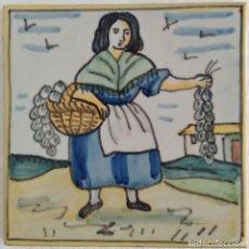 Antigüedades: AZULEJO OFICIOS - VENDEDORA AJOS (1) AÑOS 60. Lote 82890764