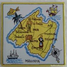 Antigüedades: AZULEJO CON MAPA DE LA ISLA DE MALLORCA, AÑOS 60. Lote 82894288