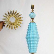 Antigüedades: SUPER LAMPARA PIE ANTIGUA CERAMICA MANISES AZUL Y DORADO VINTAGE MARMOL POP . Lote 82925676