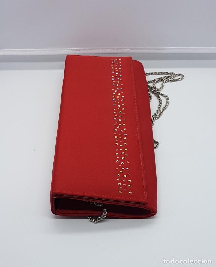 Antigüedades: Bolso de mano antiguo tipo coctel en rojo coral con aplicaciones de pedrería tornasoalada . - Foto 2 - 82943308