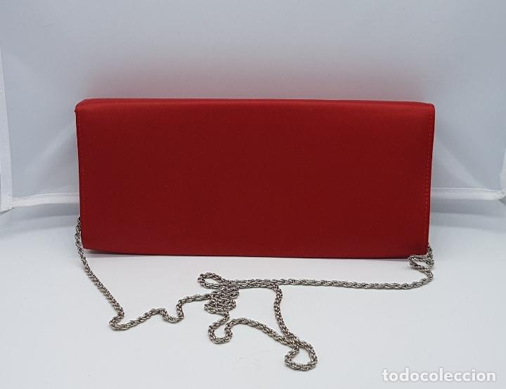 Antigüedades: Bolso de mano antiguo tipo coctel en rojo coral con aplicaciones de pedrería tornasoalada . - Foto 3 - 82943308