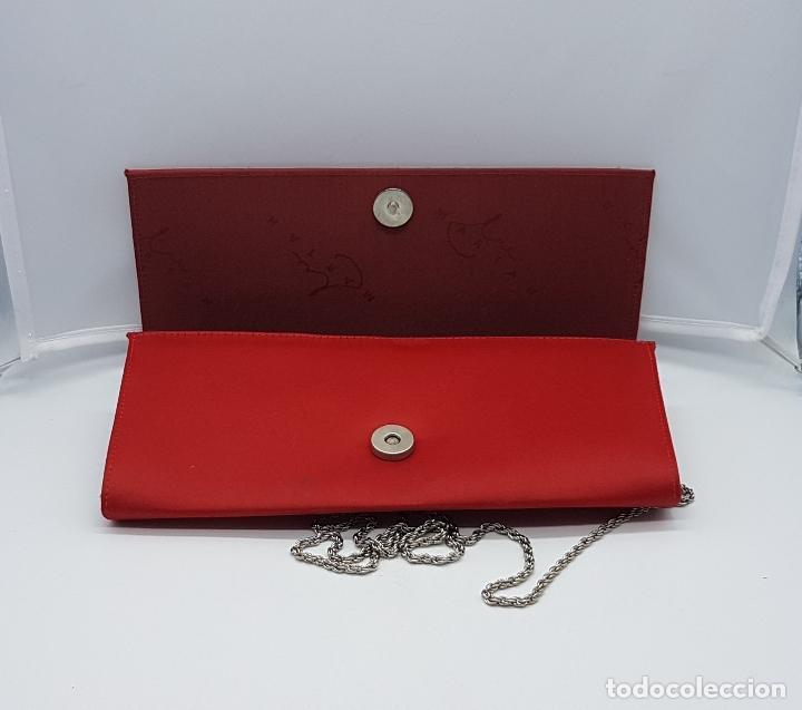 Antigüedades: Bolso de mano antiguo tipo coctel en rojo coral con aplicaciones de pedrería tornasoalada . - Foto 4 - 82943308