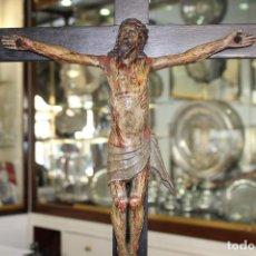 Antigüedades: CRUCE CON CRISTO CRUCIFICADO EN MADERA SIGLO XIX. Lote 82955544