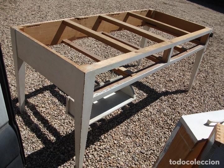 Antigüedades: Mesa grande de cocina 0 plancha antigua tablero chapa de formica 172 X 80 altura 77 cm. 2 cajones - Foto 6 - 82981804