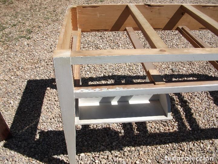 Antigüedades: Mesa grande de cocina 0 plancha antigua tablero chapa de formica 172 X 80 altura 77 cm. 2 cajones - Foto 7 - 82981804