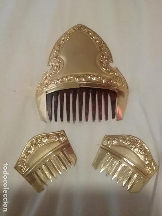 JUEGO PEINETAS FALLERA DORADAS (Antigüedades - Moda - Peinetas Antiguas)
