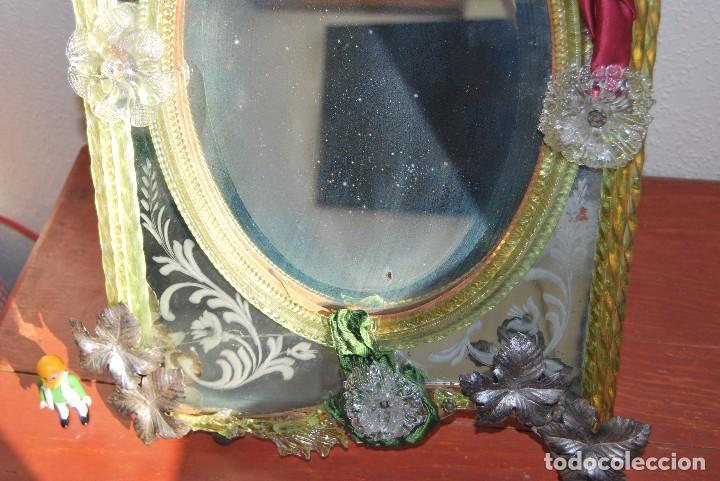 Antigüedades: PRECIOSO ESPEJO VENECIANO - ADORNOS EN CRISTAL, METAL Y TELA -MODERNISMO -ART NOUVEAU -FINALES S.XIX - Foto 5 - 83051772