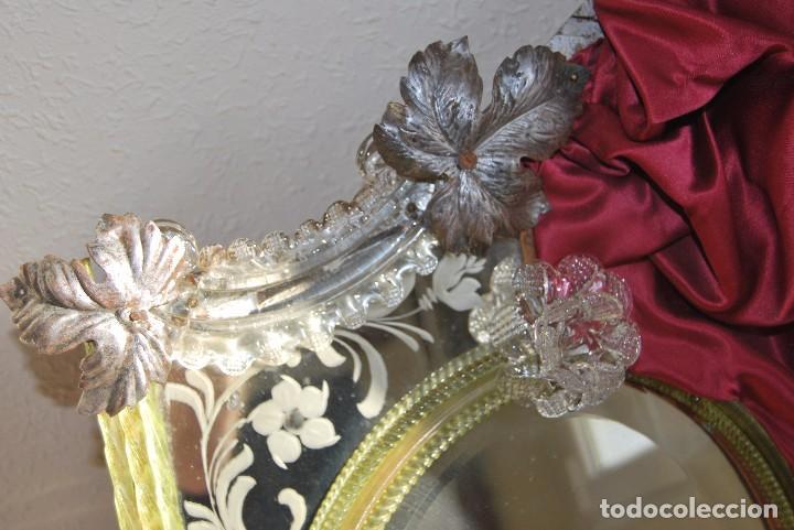 Antigüedades: PRECIOSO ESPEJO VENECIANO - ADORNOS EN CRISTAL, METAL Y TELA -MODERNISMO -ART NOUVEAU -FINALES S.XIX - Foto 6 - 83051772