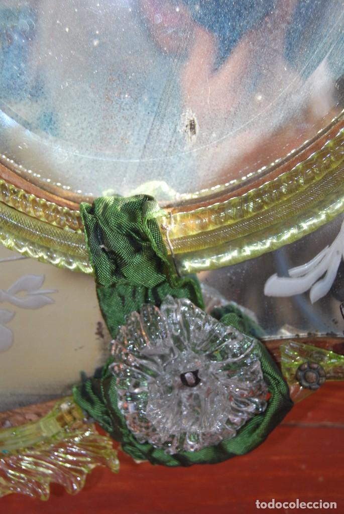 Antigüedades: PRECIOSO ESPEJO VENECIANO - ADORNOS EN CRISTAL, METAL Y TELA -MODERNISMO -ART NOUVEAU -FINALES S.XIX - Foto 15 - 83051772