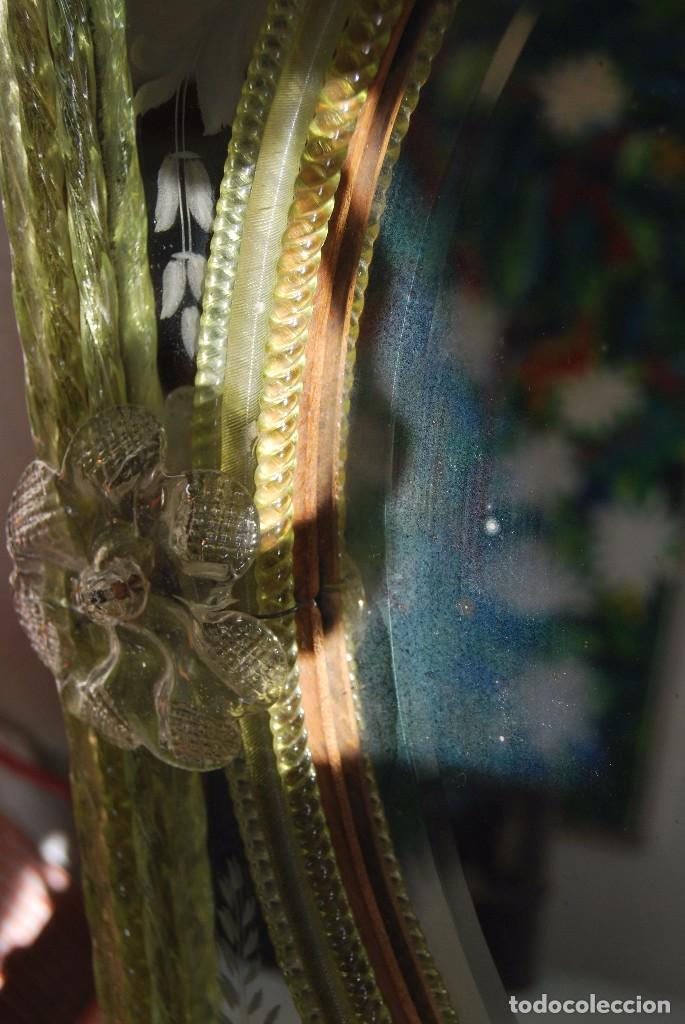 Antigüedades: PRECIOSO ESPEJO VENECIANO - ADORNOS EN CRISTAL, METAL Y TELA -MODERNISMO -ART NOUVEAU -FINALES S.XIX - Foto 16 - 83051772