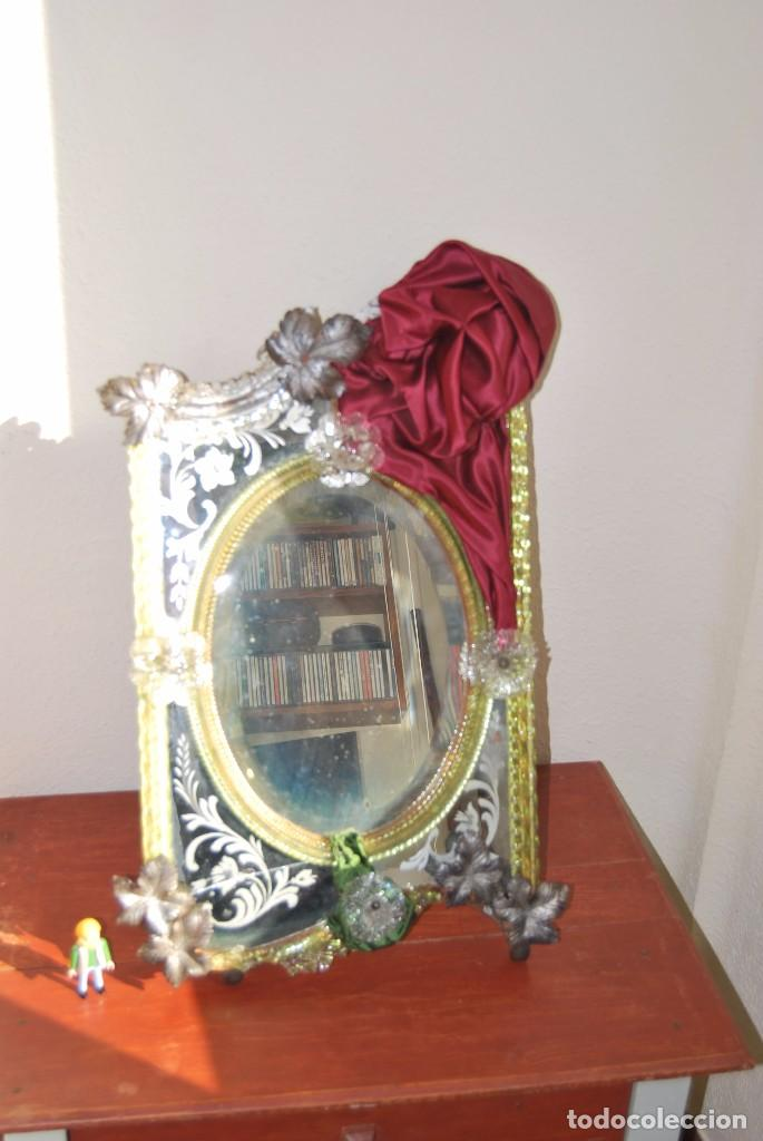 Antigüedades: PRECIOSO ESPEJO VENECIANO - ADORNOS EN CRISTAL, METAL Y TELA -MODERNISMO -ART NOUVEAU -FINALES S.XIX - Foto 17 - 83051772