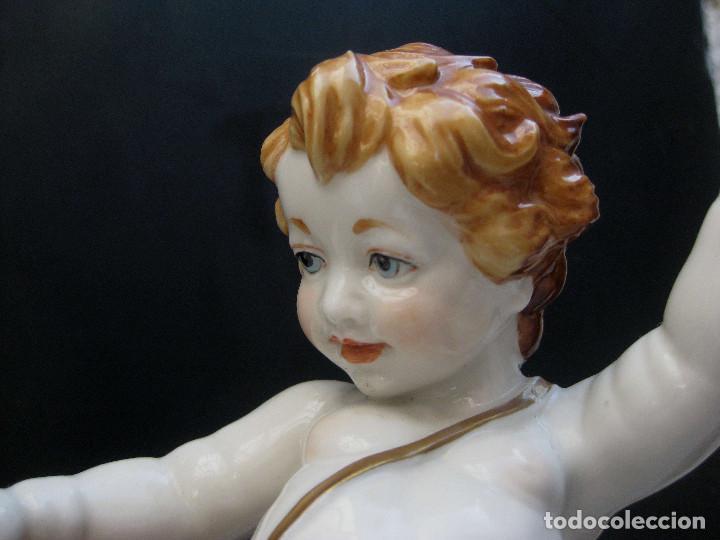 Antigüedades: MUY RARA FIGURA ANTIGUA ORIGINAL ANGELES ALGORA JUGANDO CON PAJARO - Foto 5 - 151836562