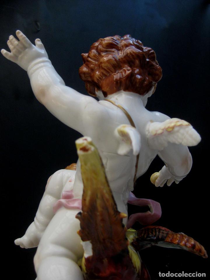 Antigüedades: MUY RARA FIGURA ANTIGUA ORIGINAL ANGELES ALGORA JUGANDO CON PAJARO - Foto 7 - 151836562