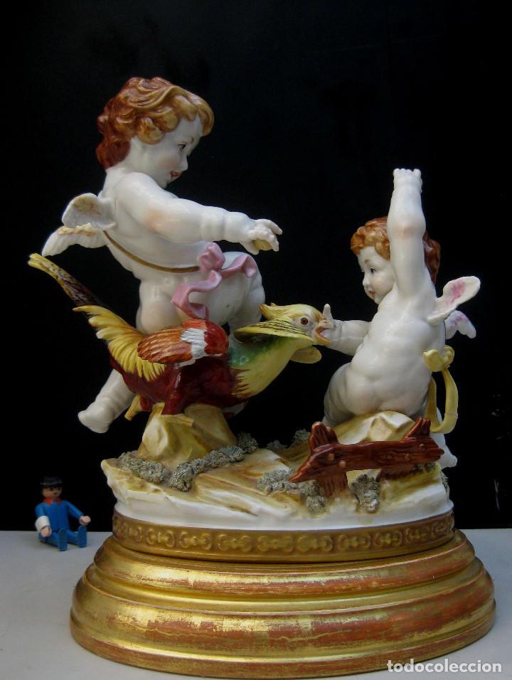 Antigüedades: MUY RARA FIGURA ANTIGUA ORIGINAL ANGELES ALGORA JUGANDO CON PAJARO - Foto 8 - 151836562