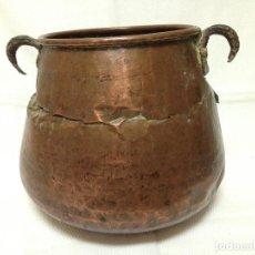 Antigüedades: ANTIGÜA OLLA EN COBRE DOS ASAS. Lote 83112428