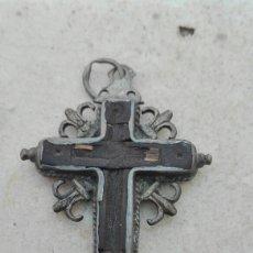 Antigüedades: ANTIGUA CRUZ RELICARIO MADERA Y PLATA XVIII. Lote 83127203
