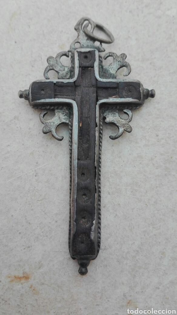 Antigüedades: Antigua Cruz Relicario Madera y Plata XVIII - Foto 2 - 83127203