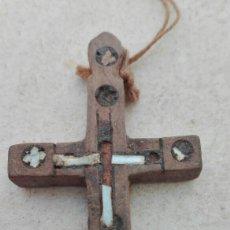 Antigüedades - Antigua Cruz Relicario Madera y Nacar XVIII - 83127383