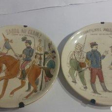 Antigüedades: PAREJA DE PLATOS DE PORCELANA DE GIEN. Lote 83146842
