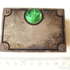 Antigüedades: PLACA EN PLATA CON SAN CRISTOBAL ESMALTADO. JAVIER CARRIZOSA. BABY BOUTA. ST. JEAN DE LUZ.. Lote 83170452