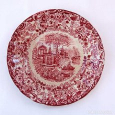 Antigüedades: ANTIGUO PLATO DE PORCELANA PICKMAN LA CARTUJA, SEVILLA. SERIE 202 ROSA. Lote 83176788