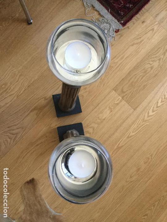 Antigüedades: Candeleros. Candelabros. Velones. Caoba. Muy altos. Peana madera. Precio unidad - Foto 2 - 83190176
