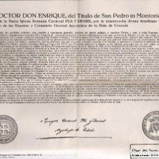 Antigüedades: BULA DE CRUZADA ARZOBISPO DE TOLEDO PLA Y DENIEL. Lote 83286728