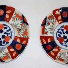 Antigüedades: PAREJA DE PLATOS DE PORCELANA JAPONESA IMARI. Lote 83298620