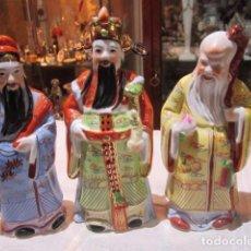 Antigüedades: 3 MONJES DE PORCELANA CHINA. 22 CMS. ALTURA.. Lote 85982666