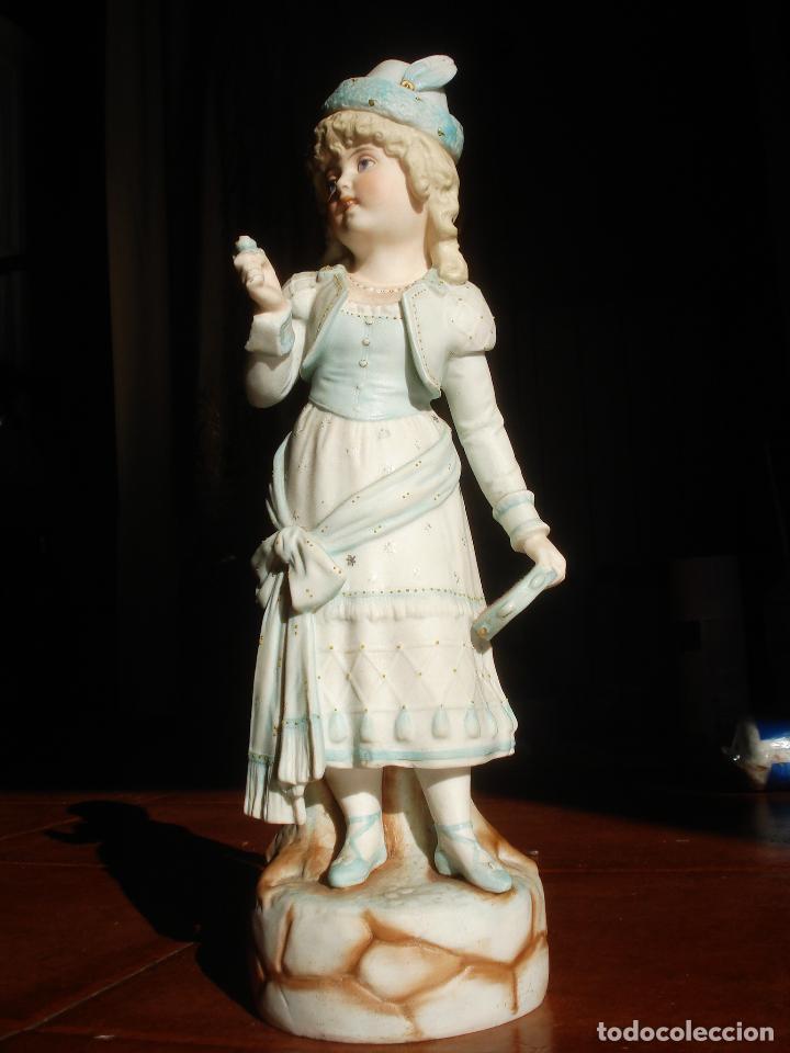 Antigüedades: BISCUIT FRANCÉS XXL SEÑORITA CON PANDERETA - Foto 3 - 83372076
