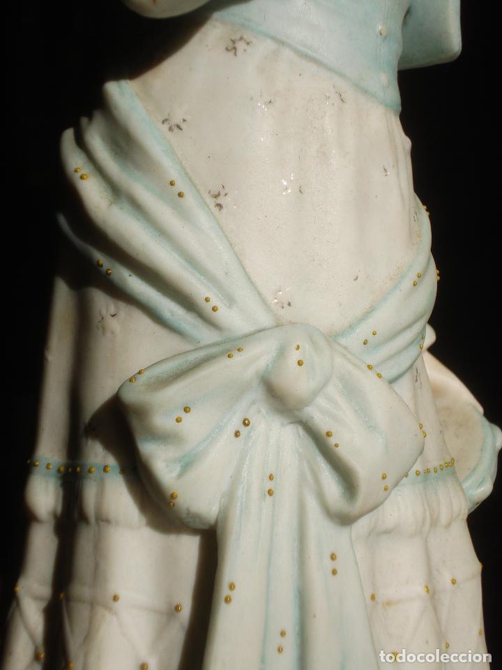Antigüedades: BISCUIT FRANCÉS XXL SEÑORITA CON PANDERETA - Foto 8 - 83372076