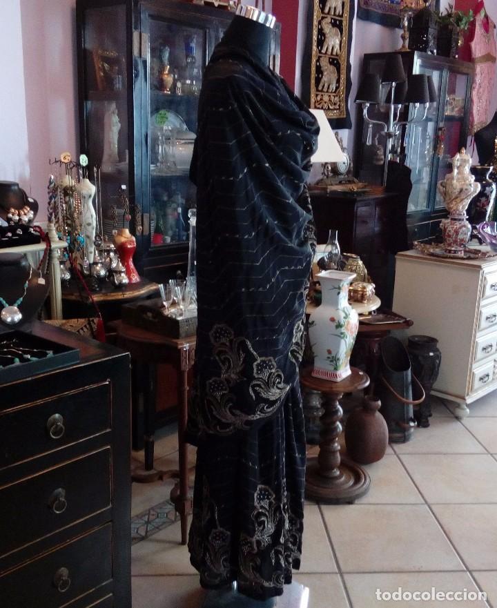 Antigüedades: SARI - SAREE EN CREPE DE SEDA CON BORDADO ZARDOZI EN HILO DE ORO - 5,35 METROS. - Foto 4 - 102011926