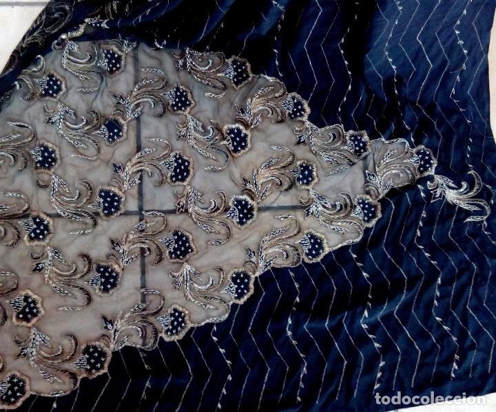 Antigüedades: SARI - SAREE EN CREPE DE SEDA CON BORDADO ZARDOZI EN HILO DE ORO - 5,35 METROS. - Foto 8 - 102011926