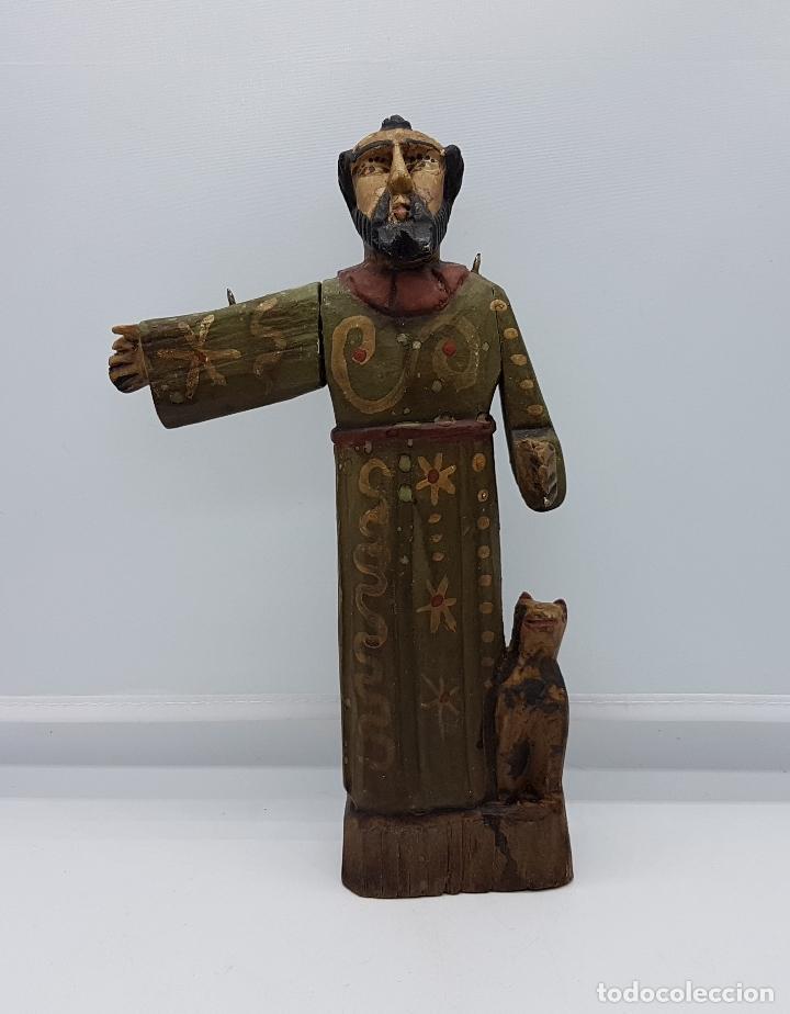 Antigüedades: Antigua talla de fraile en madera policromada a mano de estilo renacentista. - Foto 5 - 83424876