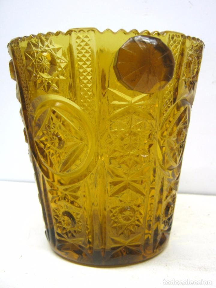 Antigüedades: Cubitera Cristal prensado Cartagena color caramelo - Foto 2 - 83430692