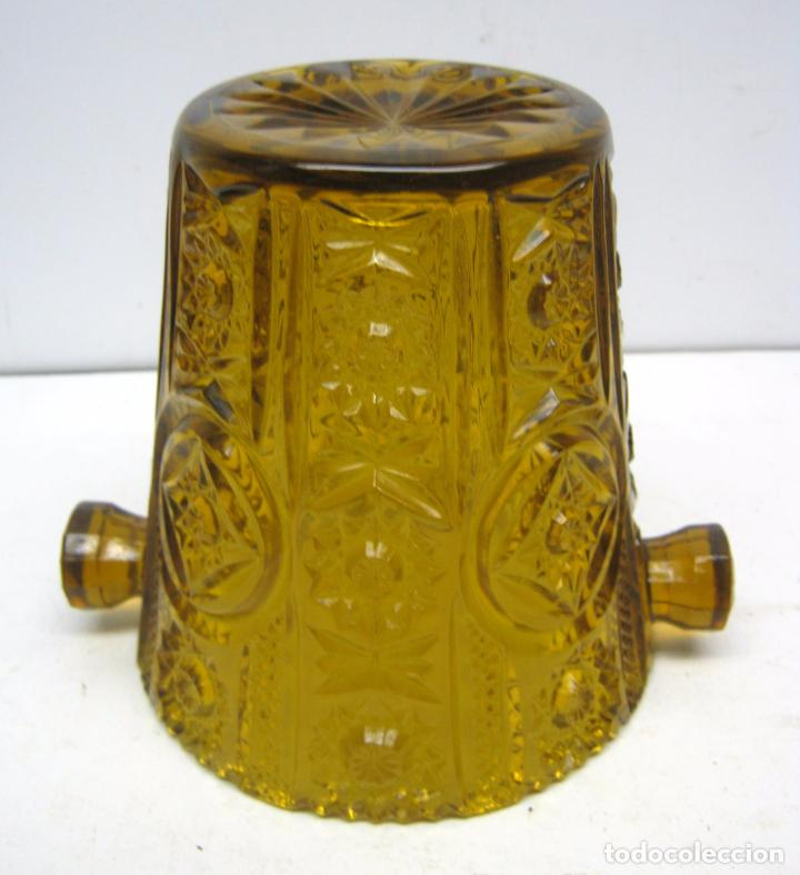 Antigüedades: Cubitera Cristal prensado Cartagena color caramelo - Foto 4 - 83430692