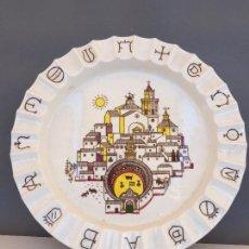 Antigüedades: GRAN CENICERO CERAMICA SELLO LA CARTUJA PICKMAN PUBLICIDAD CIMIANTO SAN VICENTE DEL RASPEIG TOROS. Lote 83434216