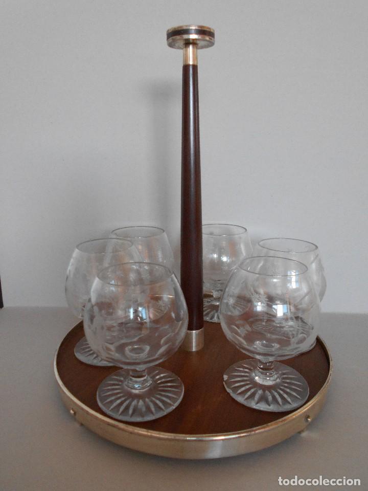 ANTIGUO PORTA COPAS CON 6 COPAS - PUIG DORIA - EN MADERA Y PLATA COMPROBADA... R-5580 (Antigüedades - Hogar y Decoración - Copas Antiguas)
