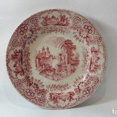 Antigüedades: ANTIGUO PLATO EN CERAMICA SEVILLA PICKMAN SEVILLA, ESTAMPADO EN ROJO, MED. 21,5 CM.. Lote 95992968