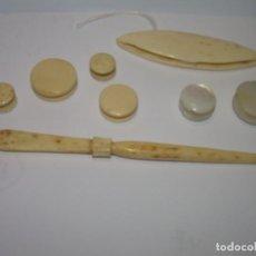 Antigüedades: ANTIGUOS UTILES DE COSTURA DE HUESO Y NACAR.. Lote 83502608